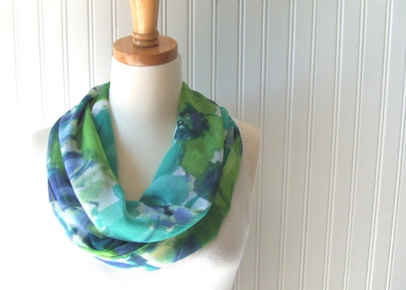 Watercolor Floral Infinity Scarf - Aqua Blue and Green Sheer Circle Scarf - Spring and Summer Fashion - New