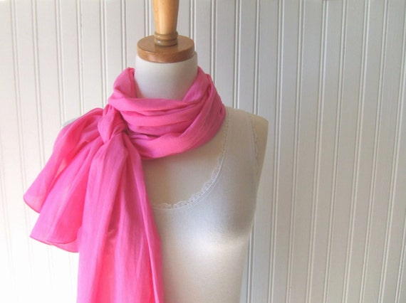 Bright Pink Summer Scarf - Hot Pink Cotton Gauze LIghtweight Summer Scarf - Extra Long - Last One