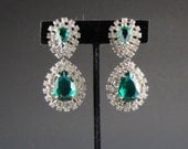 1960's  RHINESTONE EARRINGS Emerald GREEN
