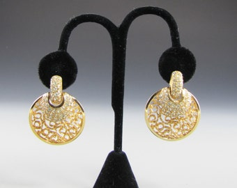 1960's Vendome Door Knocker Rhinestone Earrings