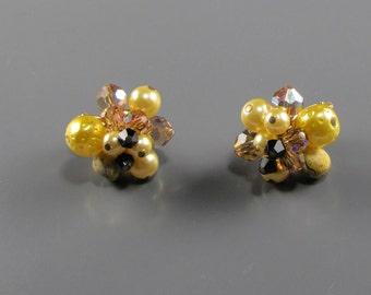 1960's Yellow Art Glass Vendome Topaz Crystal Earrings