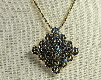 Vendome  Pendant Necklace and Earring Set Green Blue  Rhinestone  1960's