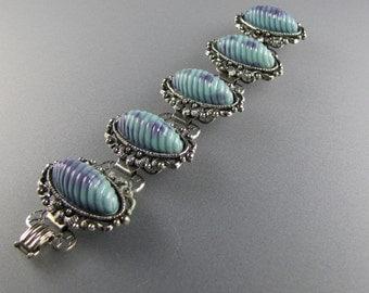 1940's BOOK CHAIN BRACELET with Aqua Violet Cabochons Art Nouveau Styling