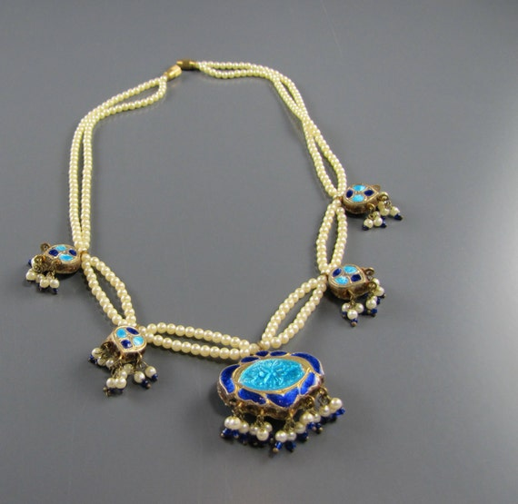 Cloisonne Pendants on Double Strand Faux Pearls