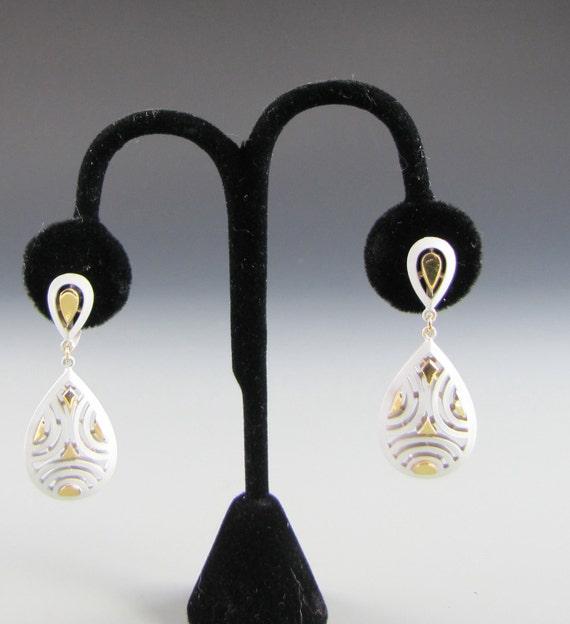 Trifari Enamel Dangle Earrings White and Gold