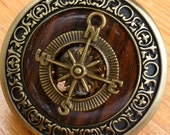 Steampunk Victorian Compass pocket watch nautical pirate pendant charm necklace locket