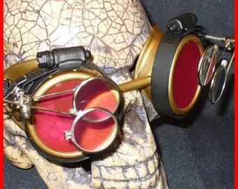 Steampunk Goggles Glasses AVIATOR  magnifying lens loops---GR-----Time Travel Crazy Scientist's Oculo-Vision Tool