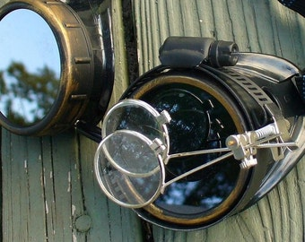 Steampunk Victorian Goggles Glasses AVIATOR Time Travel Crazy Scientist's Oculo-Vision Tool---blcgold