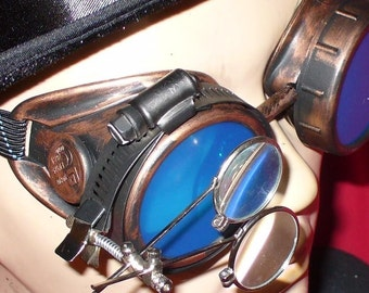 Steampunk Goggles Glasses AVIATOR Copper magnifying lens loops---RARE-----Time Travel Crazy Scientist's Oculo-Vision Tool