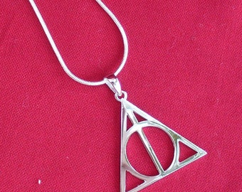 Harry Potter Deathly Hallows necklace pendant charm silver L