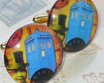 Steampunk Victorian pocket watch LONDON style cufflinks cuff links NEWLY Arrived from 1886-Dr Who Tardis