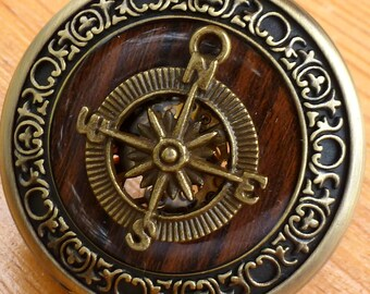 Steampunk Victorian Compass pocket watch nautical pirate pendant charm necklace locket