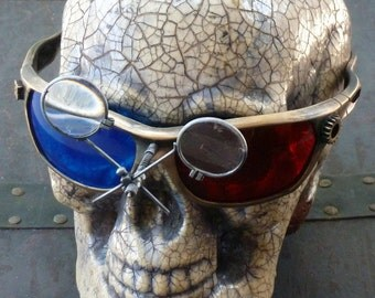 Steampunk 3D Goggles Glasses  lenses loops cyber---RARE-----Time Travel Crazy Scientist's Oculo-Vision Tool---biker motorcycle