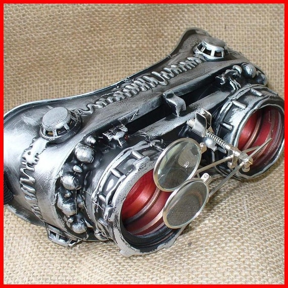 Steampunk Goggles Glasses  lenses loops LARP cyber---RARE-----Time Travel Crazy Scientist's Oculo-Vision Tool---2-3 DAYS SHIPPING