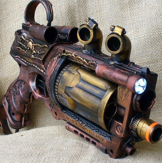 Steampunk Gun Nerf Maverick N-Strike Victorian Gothic