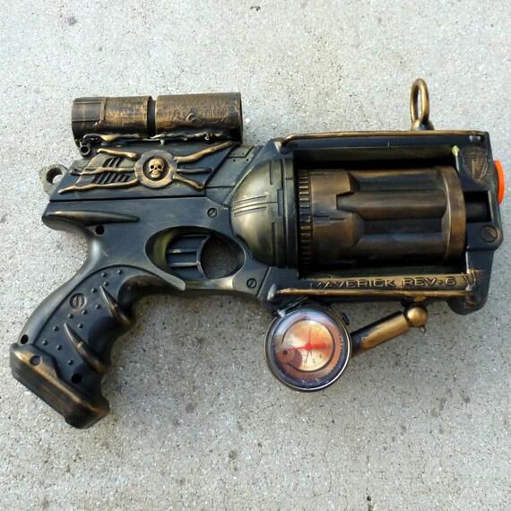 Steampunk Gun Nerf Maverick N-Strike Victorian Gothic compass pocket watch