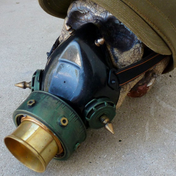 Steampunk Gas Mask Sci-fi Cyber PUNK Zombie war ---Directly from year 2053-----AGED VICTORIAN style