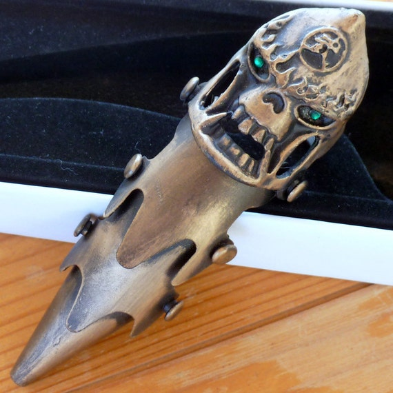 Steampunk Victorian Evil Warrior Skull Full Finger Armor Ring Gothic Vampire biker dragon ODDITY