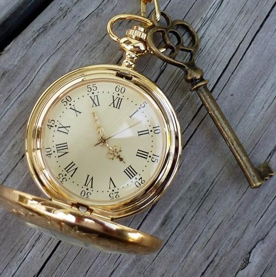 Alice in Wonderland Steampunk pocket watch key pendant charm necklace locket Victorian