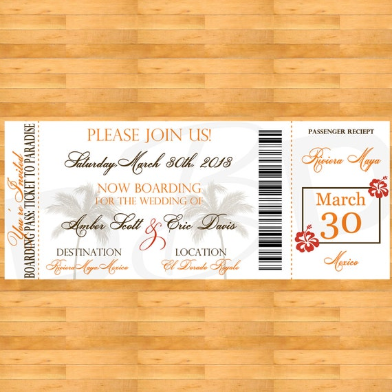 Boarding Pass Destination Wedding Invitation with RSVP - Printable Files