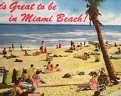 It's Great to be in Miami Beach 1950s Vintage Postcard Treasury Item