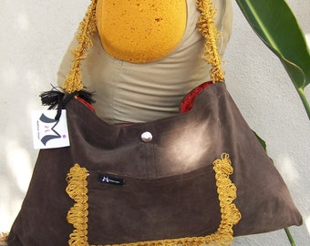 Chocolate Suede w/ Mustard Trim Shoulder Bag Purse -