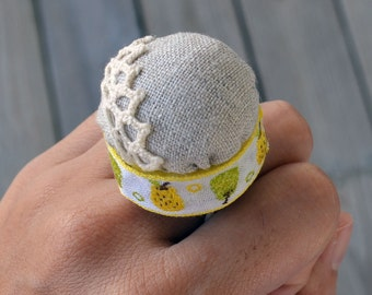 Upcycled Bottle Cap Ring Pincushion - Linen and Fruits Ribbon