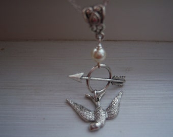 Bow And Arrow With Bird Necklace ,Pearl - Free Gift With Purchase