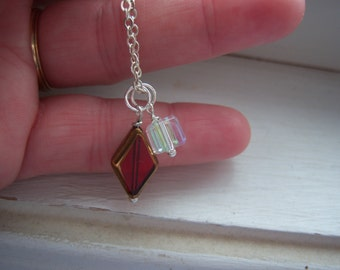Ruby red  Necklace - Ice Necklace -Diamond And SQuare Cube Necklace - Ice Cube Necklace - Free Gift With Purchase