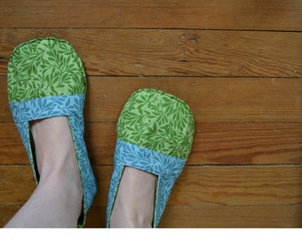 Little Leaf Indoor House Shoes / Fabric Shoes / Handmade Slippers / Slip On
