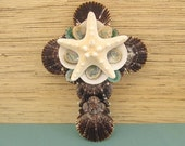 Beach Decor Shelled cross with White Starfish, Atlantic Scallop, Turquoise Limpet  and Abalone Shells
