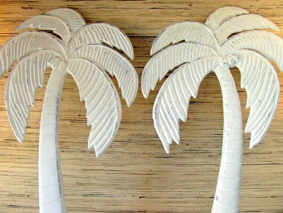Reserved for Nancie Palm Tree Wall Hanging PAIR, Coastal Decor