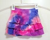 Girl's Tie-dye Ruffled Scooter, Sz. 5, Pinks & Purples