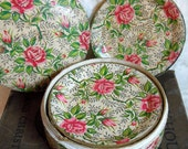 Reserved for Cat:  Vintage Shabby Chic paper mache Coaster Set - pink roses abound