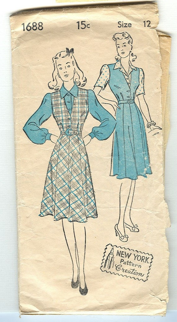 1940s Vintage Jumper and Blouse Pattern - - NEW YORK CREATION 1688 - - Size 12