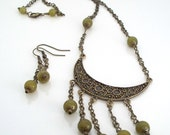 SALE Bohemian Chic Necklace and Earring Set Dark Olive Jade was 30