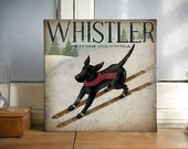 Whistler British Columbia - BLACK Dog Ski 12x12x1.5 inch Gallery Wrapped CANVAS Wall Art signed