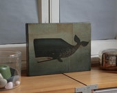 The Barnacle Whale graphic art illustration on CANVAS panel 9x12 inches signed