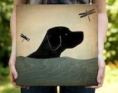 Summer Swim Black Labrador Retriever Dog Stretched Canvas Panel Wall Art canvas SIGNED