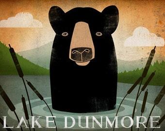 FREE CUSTOM Black Bear Lake Skinny Dip Graphic Art Illustration