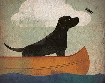 Black Dog Labrador Retriever Canoe Ride  original Graphic Art Giclee Print 12x12 Signed