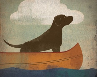 CUSTOM Personalized Brown Dog Chocolate Lab illustration GICLEE print by Ryan Fowler SIGNED