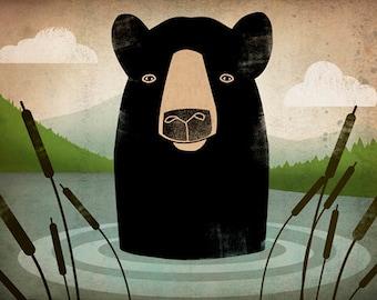 Black Bear Skinny Dip GRAPHIC ART  print Signed