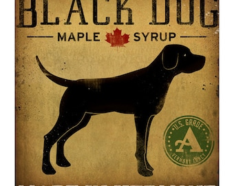 Custom Text Black Dog Maple Syrup GRAPHIC Art Print signed Labrador