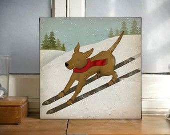 BROWN, Black, Yelow, Dog Ski 12x12x1.5 inch Gallery Wrapped CANVAS Wall Art signed