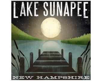 custom ANY LAKE Free Customization Moonrise LAKE Sunapee New Hampshire Giclee Print signed