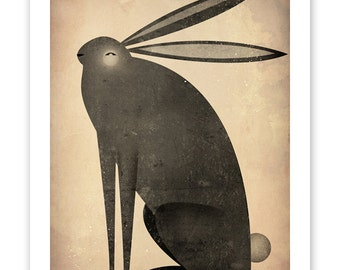 FREE Shipping The BLACK RABBIT Graphic Art Illustration 9x12 giclee print Signed
