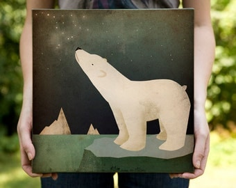 POLAR BEAR CONSTELLATION - Graphic Art Illustration on 1.5 inch Ready-to-Hang Canvas Panel  Signed