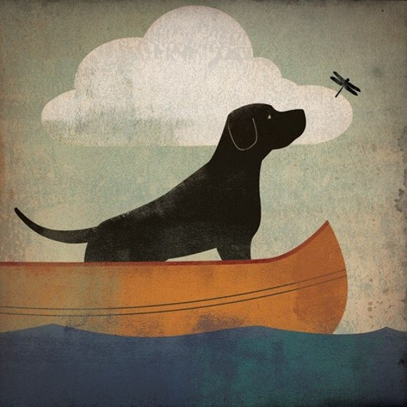 Black Dog Labrador Retriever Canoe Ride  original Graphic Art Giclee Print 12x12 Signed