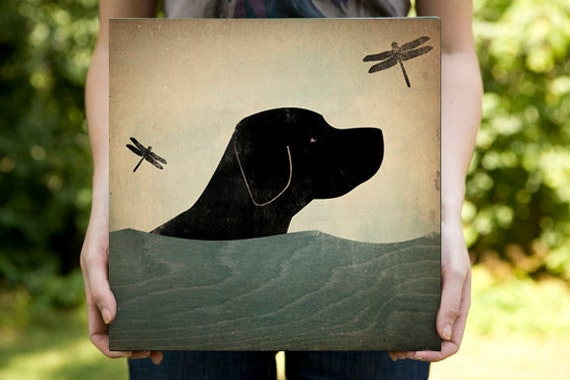 Summer Swim Black Labrador Retriever Dog Stretched Canvas Panel Wall Art canvas SIGNED